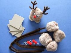 Pompoms, pipe cleaner, foam sheets, googly eyes and small red pompoms = PomPom Reindeer. Christmas crafts kids