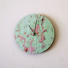 Cottage Chic Wall Clock, Recycled Clock, Unique Clock, Home and Living, Home Decor, Deocr and Housewares, Unique Gift, Reclaimed Wood via Etsy