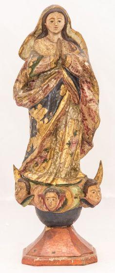Imagem de madeira policromada, Nossa Senhora da Conceição. Bahia, século XIX. Alt. 29 cm. Não vendida. Base 600,00.