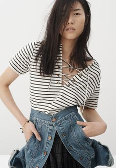madewell striped lace-up top worn with the summer jean jacket.