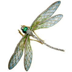 Preowned Art Nouveau Dragonfly Brooch ($37,500) ❤ liked on Polyvore featuring jewelry, brooches, brooch, dragonflies, multiple, green dragonfly jewelry, pin brooch, preowned jewelry, dragonfly brooch and dragonfly jewelry