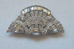 Classic Art Deco Fan Shaped Rhinestone Dress Clip by JBPacrat, $20.00