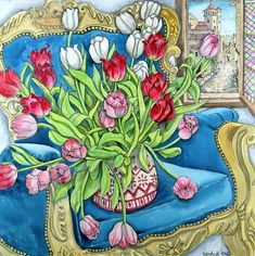 "Nerida de Jong (Born 1945), ""Tulips on Blue Chair"""