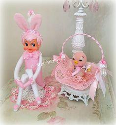 Vintage pink Easter bunny elf knee hugger and needle felted pink bird in Easter basket <3