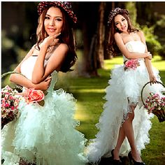 Cute White Modern Strapless Tea Length Short Beach Wedding Party Dresses SKU-118161