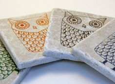 Owl Coaster Set Owl Decor Hand Stamped by paizleypolkadot, $18.00