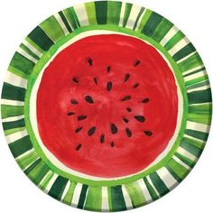 Watermelon Treat Paper Plates 8 Per Pack by Creative Converting. Watermelon Patch, Watermelon Art, Lila Party, Watermelon Illustration, Watermelon Designs, Fruit Photography, Disposable Tableware, Plate Art, First Birthday Parties