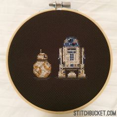 This is how we roll. Before the force awakens, stitch this awesome pattern featuring R2-D2 and BB-8, the new Ball Droid! This cross stitch pattern