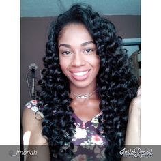 teamcrochetbraids's photo on Instagram - Kanekalon crochet braids curled with flexi-rods