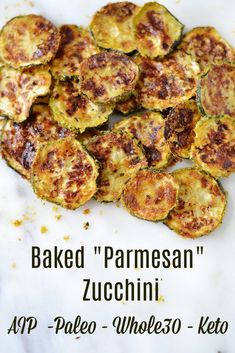 "Baked ""Parmesan"" Zucchini * Lichen Paleo, Loving AIP Vegan Recipes Plant Based, Paleo Recipes, Real Food Recipes, Paleo Side Dishes, Side Dish Recipes, Vegetable Dishes, Vegetable Recipes, Whole 30 Breakfast, Paleo Breakfast"