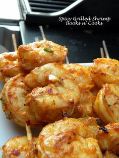 Spicy Grilled Shrimp from @booksncooks2
