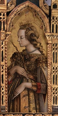 Saint Cecilia by Carlo Crivelli renaissance Medieval Fashion, Medieval Art, Saint Catherine Of Alexandria, Sainte Cecile, Classic Artwork, Renaissance Paintings, Italian Renaissance, Italian Artist, Art For Art Sake