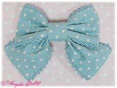 Angelic Pretty - Corduroy Heart Print Ribbon Barrette in sax