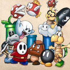 Mario World Villains by DaniTalksPoop on DeviantArt – Graffiti World Cool Art Drawings, Disney Drawings, Cartoon Drawings, Cartoon Art, Art Sketches, Mario And Luigi, Mario Bros, Mario Tattoo, Super Mario Art