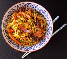 The best peanut noodles - packed with peanut flavor and rainbow veggies #Vegan #FatFridaysForever