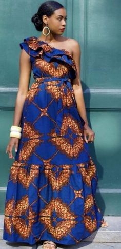 dresses modern unique African one shoulder maxi dress , Ankara dress with flounce, Sleeveless wax print dress African Maxi Dresses, Latest African Fashion Dresses, African Dresses For Women, African Attire, African Wear, Ankara Fashion, 50s Dresses, Elegant Dresses, Ankara Gowns