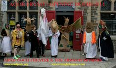 """Parade gathering outside Arad Goch Theatre for 25th International Welsh Theatre Festival """"Agor Drysau: Opening Doors"""" hosted by Arad Goch Theatre, Aberystwyth"""