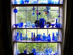 Blue glass in the window...finally at our new house! I have been collecting for awile so I can do this