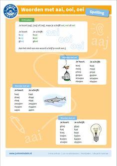 aai, ooi, oei, junior einstein, oefenen, uitlegkaarten, spelling, taal, spellingsregels, klankwoorden, spelling, taal, clusterwoorden