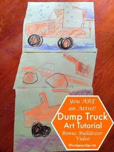 Dump Truck Chalk Art Tutorial with Bonus Toy Bulldozer Video Demonstration