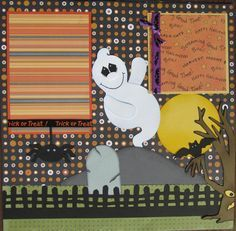 Items similar to Halloween Premade scrapbook page layout Ghouls in the Graveyard on Etsy Scrapbook Examples, Baby Scrapbook Pages, Scrapbook Designs, Scrapbook Sketches, Scrapbook Page Layouts, Scrapbook Paper Crafts, Scrapbook Cards, Halloween Scrapbook, Halloween Cards