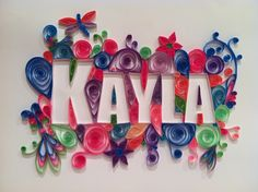 Your Name Here - personalized quilling, custom handmade wall hanging. Twirled paper. $150.00, via Etsy.