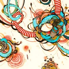 Twine - by Yellena James Illustrations, Illustration Art, Yellena James, Wallpaper Crafts, Abstract Nature, Abstract Art, Zentangle Patterns, Zentangles, Alcohol Markers