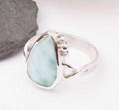 Silver Larimar Ring Size S , Solid Sterling Silver 925 , Hallmarked Ring £64.00 Handmade Jewellery, Silver Jewellery, Handcrafted Jewelry, Jewelry Gifts, Unique Jewelry, Larimar Rings, Gemstone Rings, Beautiful Gifts, Paper Gifts