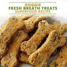 Superfood Doggie Fresh Breath Treats - The Best Healthy Dog Recipes Puppy Treats, Diy Dog Treats, Homemade Dog Treats, Healthy Dog Treats, Healthy Food, Healthy Pets, Gourmet Dog Treats, Healthy Recipes, Dog Biscuit Recipes