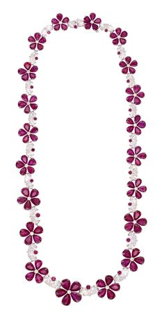 Chopard Red Carpet Collection necklace with pear-shaped rubies forming flowers and diamonds set in white gold (£POA).