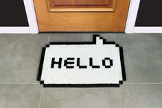 8-Bit Hello White Doormat greets in geek! #doormat #8bit #geek