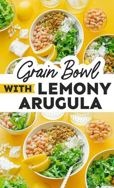 Fill up on greens, protein, and healthy fat with this Lemony Arugula Grain Bowl. Ready in 30 minutes and perfect for meal prep! It's a healthy vegetarian dinner idea that's full of flavor and perfect for easy meal prepping. Vegetarian Salad Recipes, Vegetarian Recipes Dinner, Entree Recipes, Vegan Dinners, Veggie Recipes, Healthy Recipes, Dishes Recipes, Vegetarian Cooking, Quick Recipes