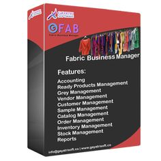 Fabric Management Software developed by Gayatri Software Services Private Limited :  Features -  • Accounting  • Ready Products Management  • Grey Management  • Vendor Management  • Customer Management  • Sample Management  • Catalog Management  • Order Management  • Inventory Management  • Stock Management  • Reports Gayatri Software provide offshore IT services and solutions.  For more details, contact us: +91-9694999998, email us: info@gayatrisoft.co Inventory Management, Accounting, Catalog, Software, Business, Grey, Fabric, Products, Tejido