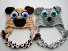 READY TO SHIP 0-3 mon Puppy Dog Pals Earflap Hats Bingo and Rolly Crochet  Hats animal hat crochet puppy hat baby puppy hat Baby Gift Pug Hat a336fccb4fea