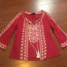 Maroon Red & White Boho Top Brand New, Never Worn! Maroon Red and White Boho Tunic Top, with beautiful stitching and tassels. 3/4 sleeves. Size small. INC International Concepts Tops Blouses