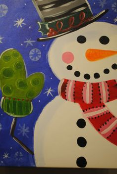 Christmas Painting On Canvas Ideas Snowman