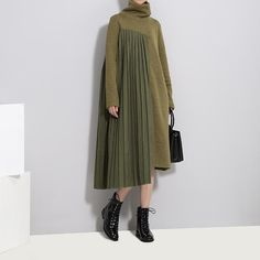 Cheap dress women, Buy Quality fashion dress woman directly from China dress fashion Suppliers: [EAM] 2018 new spring high collar long sleeve solid color army green pleated split joint dress women fashion tide Fashion Vestidos, Women's Fashion Dresses, Hijab Fashion, Hijab Stile, Cute Casual Dresses, Maxi Robes, Patchwork Dress, Mode Hijab, Wool Dress