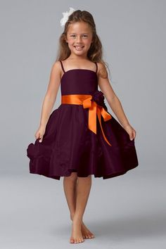 Seahorse style 49729 flower girl dress in Acai and Tangerine from Weddington Way