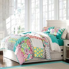 PB Teen Sunset Beach Quilt, Full/Queen, Multi at Pottery Barn Teen -... ($142) ❤ liked on Polyvore featuring home, bed & bath, bedding, quilts, twin xl bedding, polka dot bedding, quilted shams, pbteen bedding and grey twin bedding