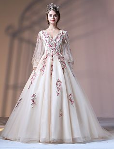 Ball Gown Princess V-neck Court Train Polyester Lace Tulle Formal Evening Dress with Appliques Embroidery Pearl Detailing Bandage by QZ