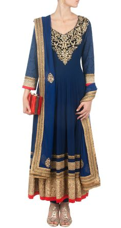 blue anarkali wid gold work #elegant #traditional #anarkali