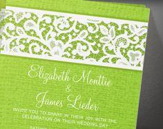 Lime Green Rustic Country Burlap Linen Wedding Invitation