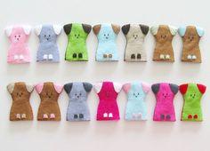 Dog finger puppet - 1 pcs - you choose color, Soft Felt Animal Toy, kids, children, baby, nursery, handmade gift, colorful. $6.00, via Etsy. Sound Beginnings