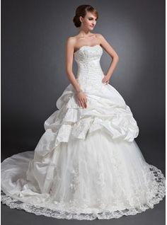 Ball-Gown Sweetheart Chapel Train Taffeta Tulle Wedding Dress With Ruffle Lace Beadwork (002015155)