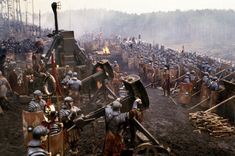 "Roman Legion arrayed for battle against the Gallic barbarians from the movie ""Gladiator""."