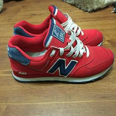 New balance - red blue 574 Size 9, have too many new balance sneakers, 4db9965e4c2e
