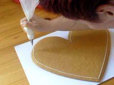 Esküvői mézeskalács mandulavirágokkal ~ Decorating a Extra Large Heart Cookie