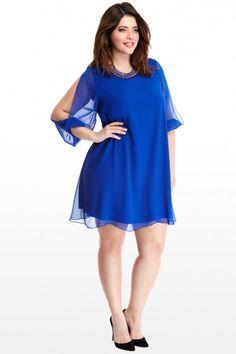 Plus Size Delancey Chiffon Cutout Shoulder Dress | Fashion To Figure #CobaltBlue #PlusSizeFashion #FashionToFigure