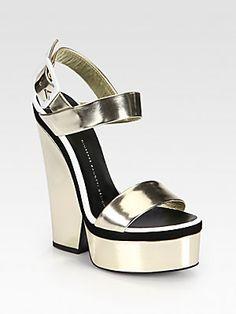 Giuseppe Zanotti Metallic Leather Platform Wedge Sandals