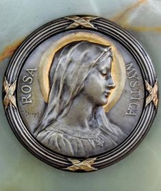 Art Nouveau catholic medallion of Virgin Mary designed by the French artist Emile Dropsy Art Nouveau, Our Lady Of Lourdes, Catholic Medals, Small Words, French Artists, Bronze Sculpture, Virgin Mary, See Photo, French Antiques